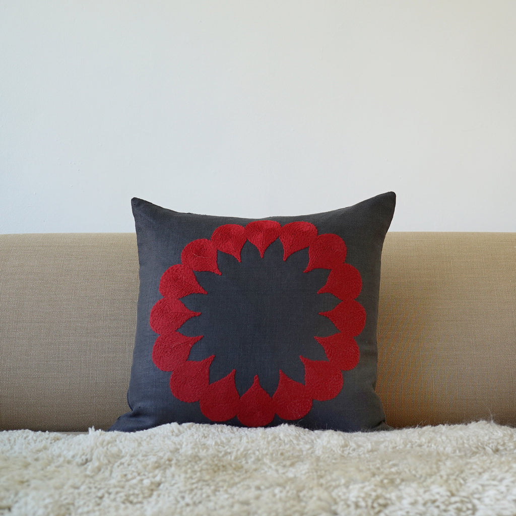 Red Raindrop, Grey linen cushion cover