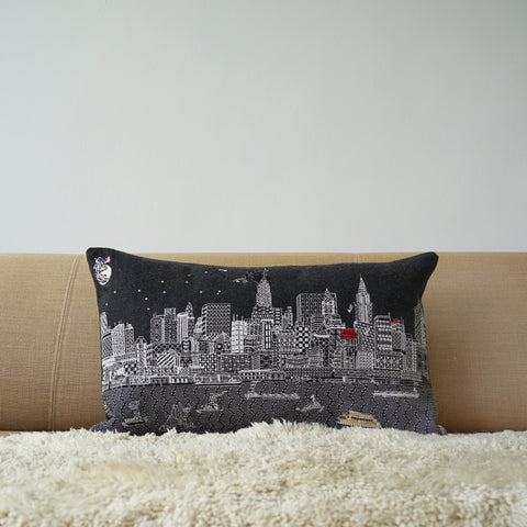 New York By Night grey wool cushion cover