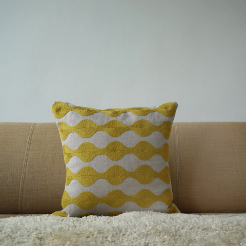 Yellow Bobble, natural linen cushion cover