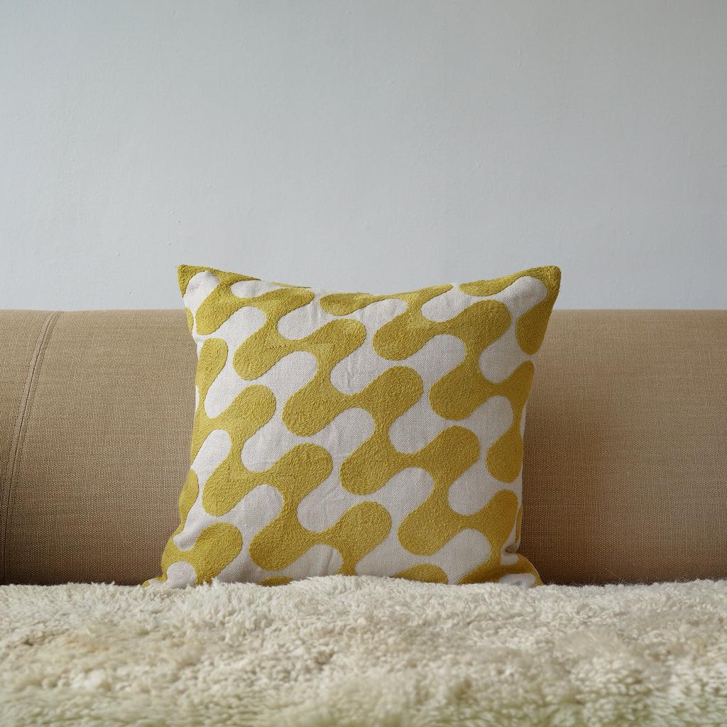 Yellow Ripple, natural linen cushion cover