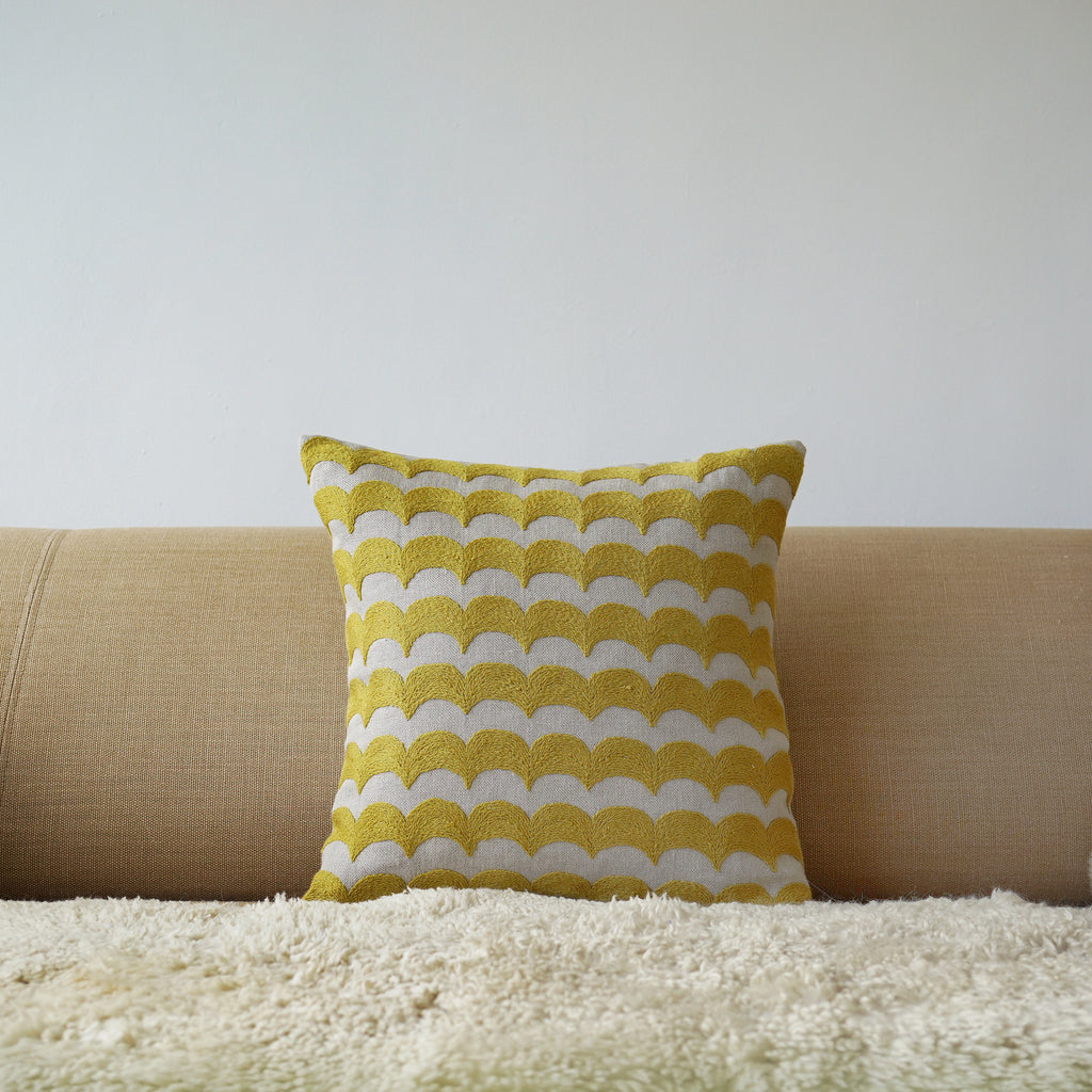 Yellow Wave, natural linen cushion cover