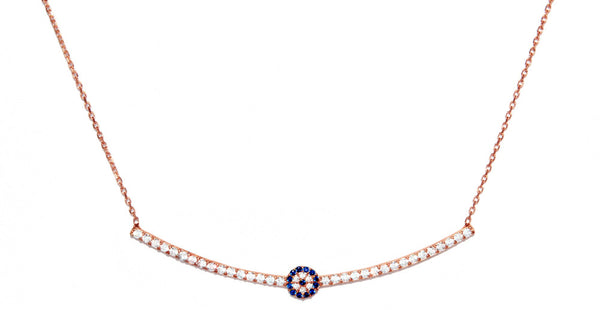 CZ Evil Eye Bar Necklace