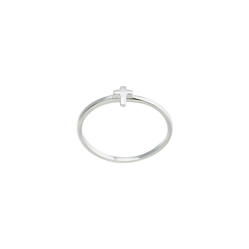 Tiny Silver Cross Ring