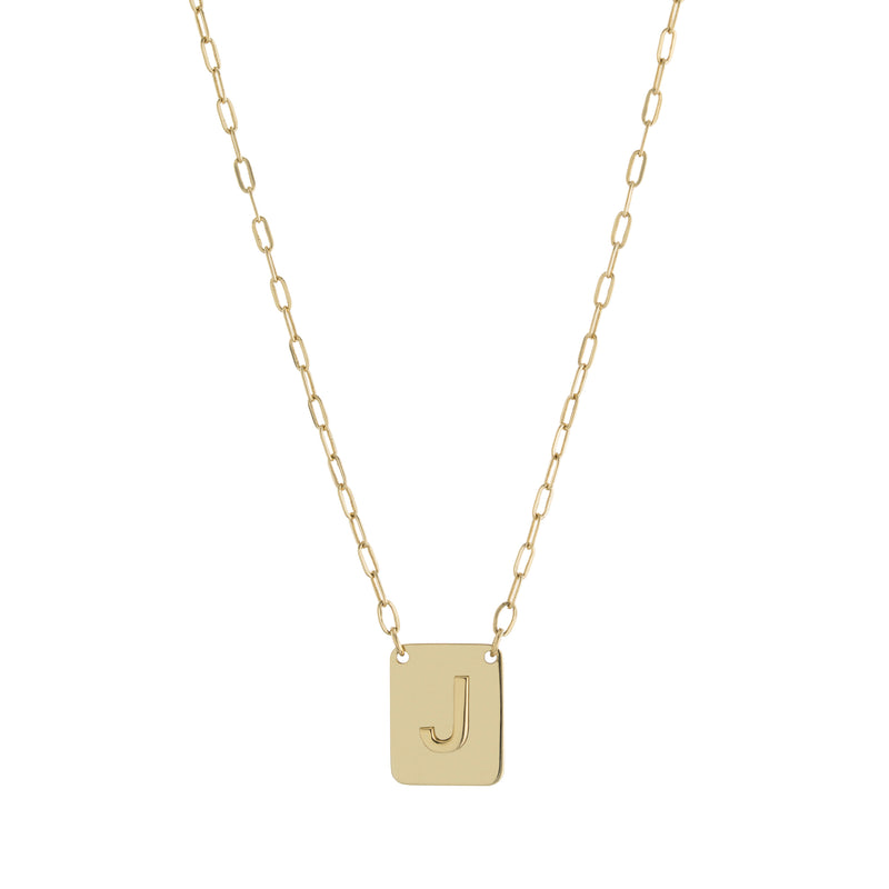 Gold Square Plate Paperclip Chain