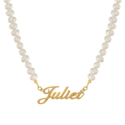 Gold Pearl Nameplate Necklace