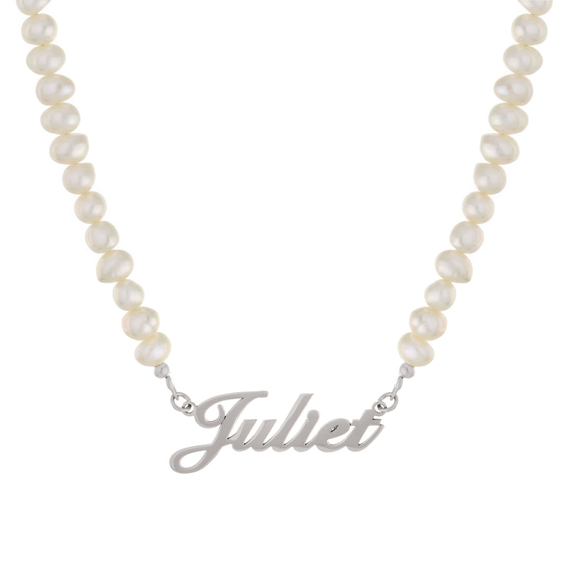Pearl Nameplate Necklace