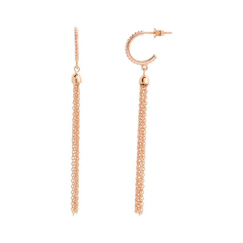Rose Gold Over Sterling Silver Beaded Chain Tassel Hoop Earrings - Silver Jewelry