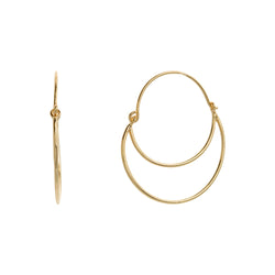 Gold Over Sterling Silver Open Abstract Hoop Earrings - Silver Jewelry
