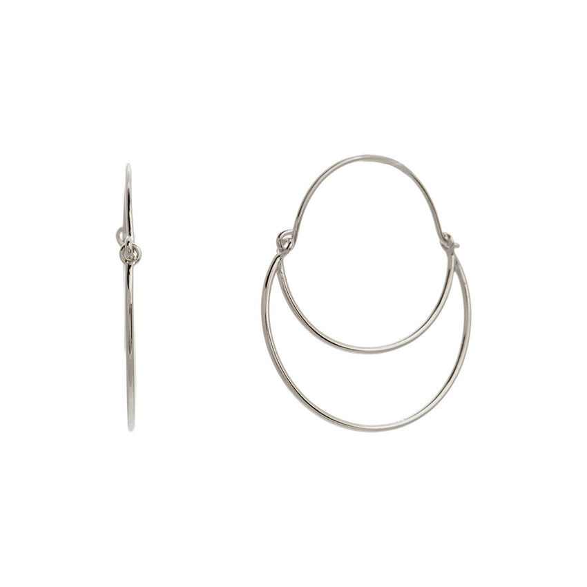 Sterling Silver Open Abstract Hoop Earrings - Silver Jewelry