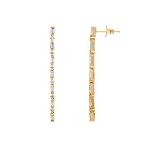 Gold Baguette Drop Earrings