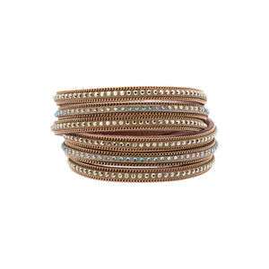 Light Brown Faux Leather Double Wrap Bracelet - Silver Jewelry
