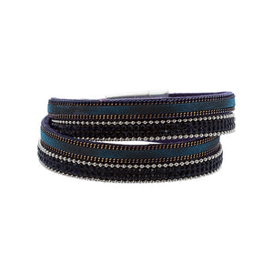 Dark Blue Faux Leather Double Wrap - Sterling Silver Womens Collection - 1