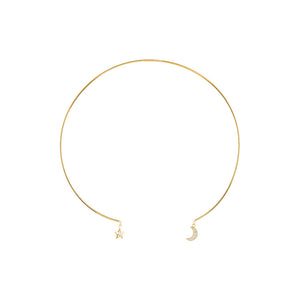 Gold Over Sterling Silver CZ Star and Moon Drop Collar Necklace