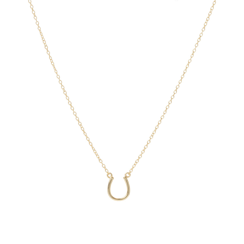 "Gold Over Sterling Silver Lucky ""U"" Shoe Horse Necklace - Sterling Silver Womens Collection"
