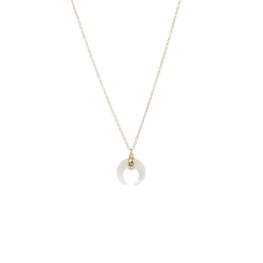 Mini Gold Over Sterling Silver White Mother of Pearl Horn Necklace - Silver Jewelry