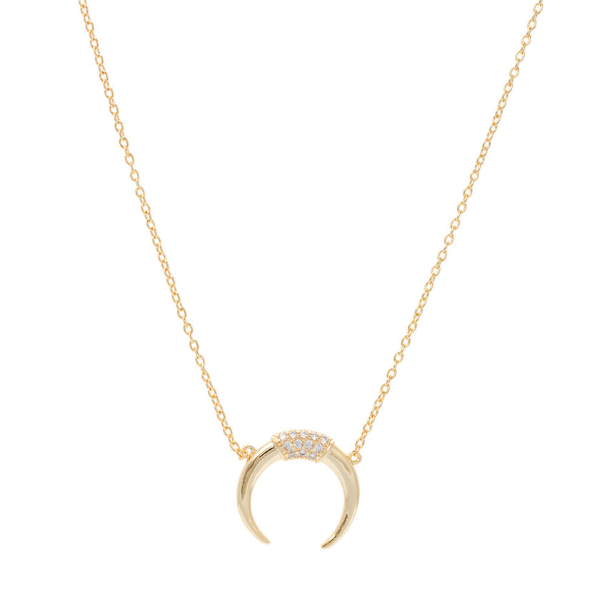 Gold Over Sterling Silver Horn Necklace - Silver Jewelry