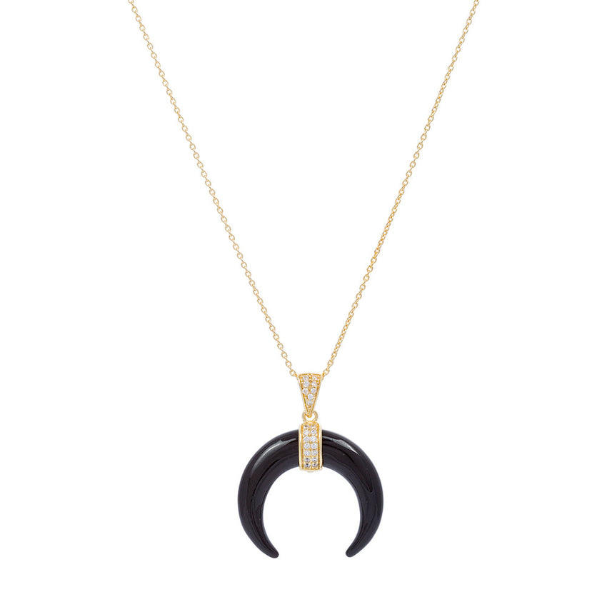 Gold Over Sterling Silver Black Onyx Horn - Silver Jewelry