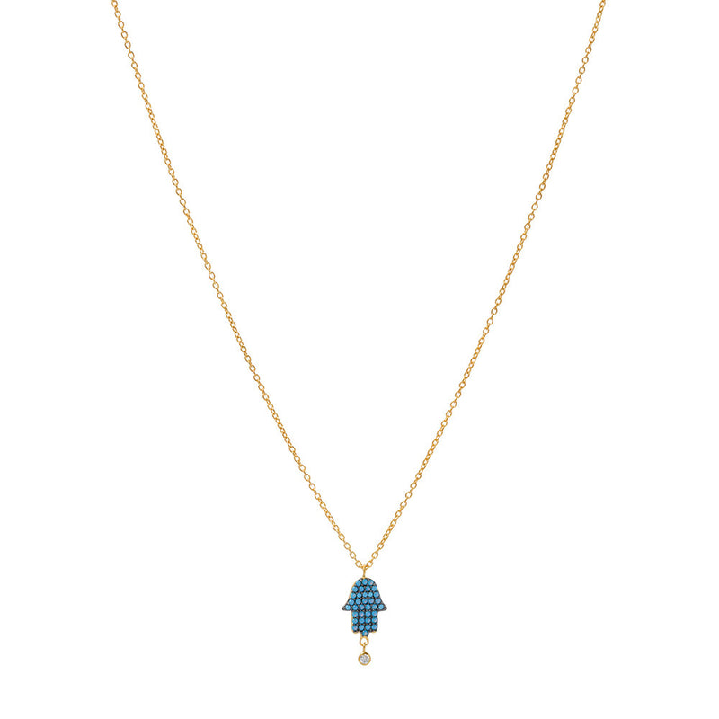 Gold Over Sterling Hamsa hand Necklace With Nano Turquoise - Sterling Silver Womens Collection