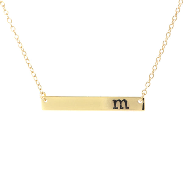 Gold Over Sterling Silver Initial Bar Necklace