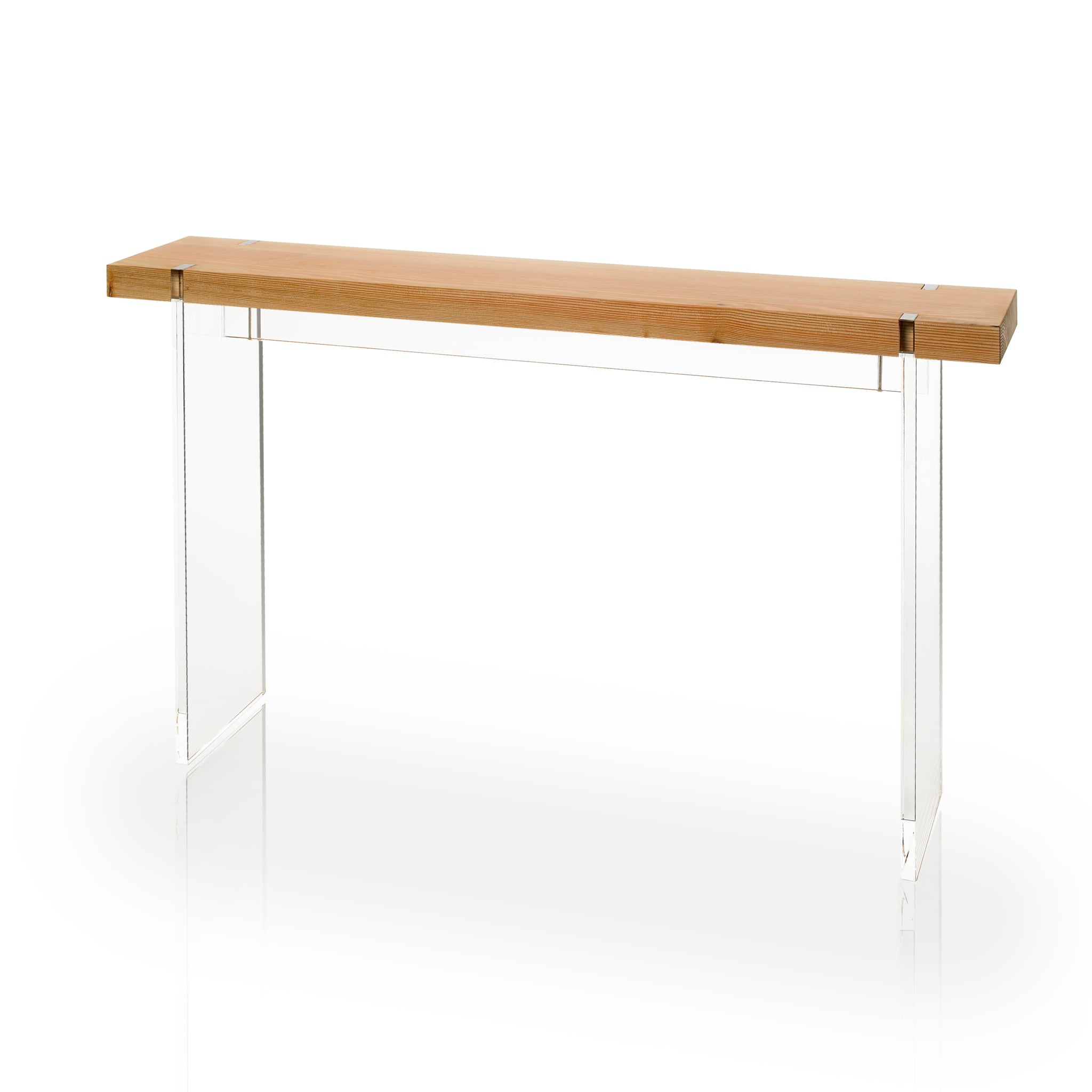 this floating acrylic console table is topped with solid douglas fir in two finishes natural and torched and includes a sexy mark that we think youu0027ll