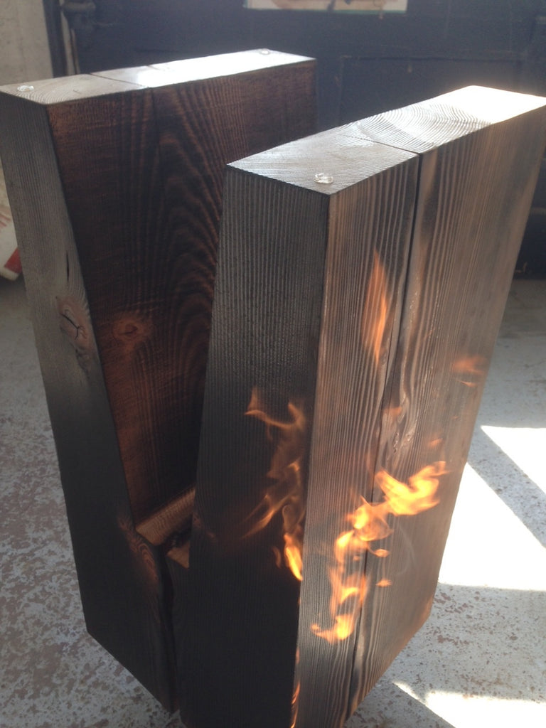 Delicieux Here Is Our Alta Table Being Torched. You Can Now Choose From Three Wood  Options For Our Klee And Alta Tables, As Well As Our Aura Lamp:  Blue Stained Pine, ...