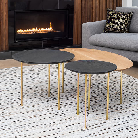 Saxe nesting table set - Torched & White Oval