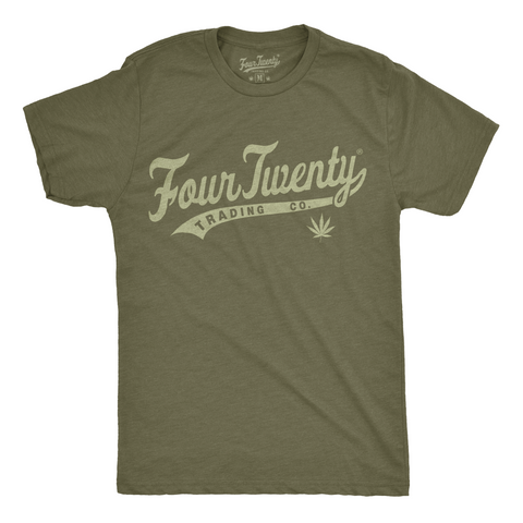 Four Twenty Baseball Logo Men's Green Tee