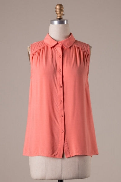 Coral Sleeveless button up blouse