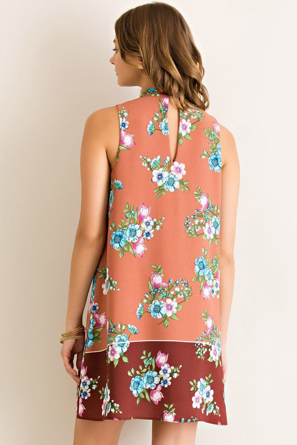 Peach Entro Floral border Dress