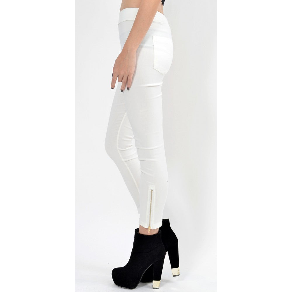 Elastic Waist Jeggings - White