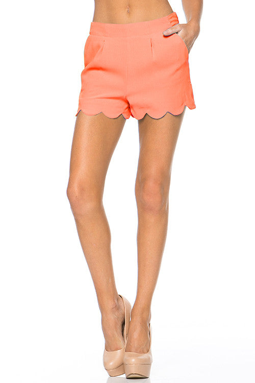 LARGE Peach Scallop Shorts