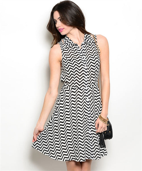 SMALL Black and White Chevron Print Dress