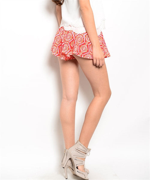MEDIUM Red Tribal Print Shorts