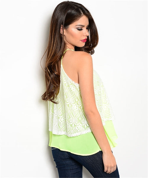 Double Layer Lace Top - Neon Lime