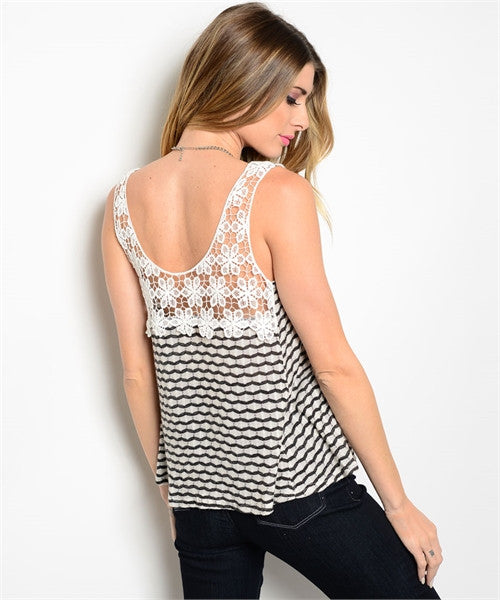 Stripped Tank with Crochet Detail