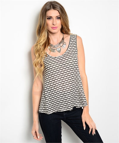 LARGE Navy Printed Tank Top