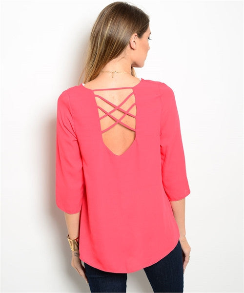 LARGE Coral Staple Top