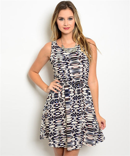 LARGE Navy Abstract Print Sleeveless Dress