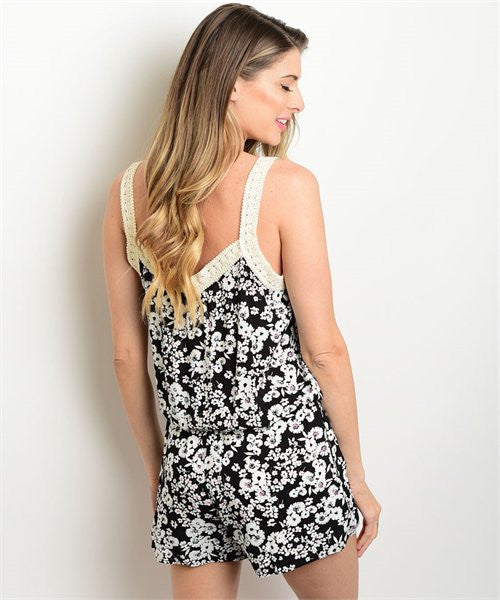 MEDIUM Black Floral Romper