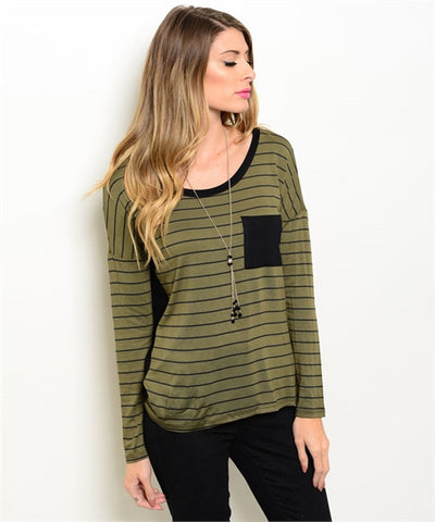 Olive Cold Shoulder Top
