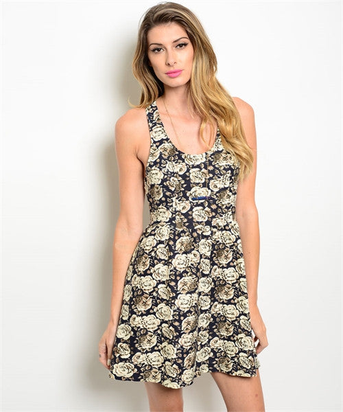 Flower Printed Dress - Sage
