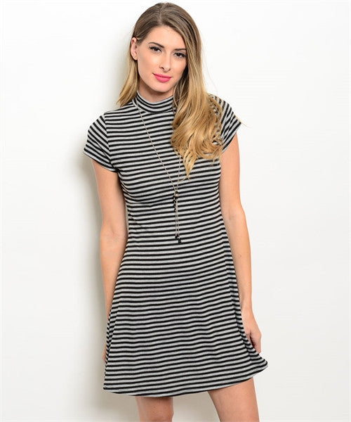 Black and Grey Stripped Ellie Dress
