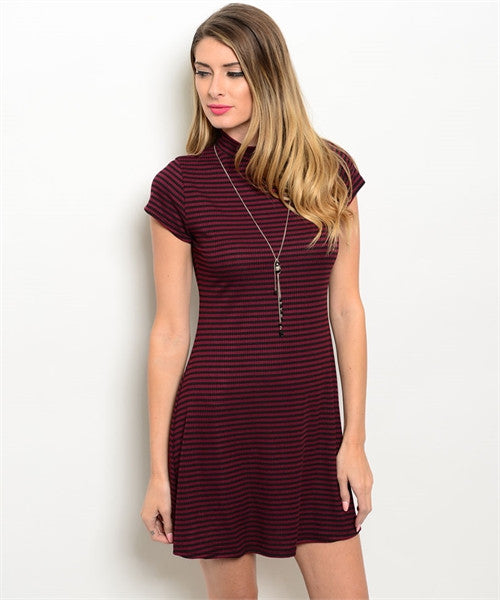 LARGE Black and Burgundy Stripped Ellie Dress