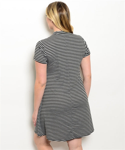 Stripped Ellie Dress Plus Size - Black and Grey
