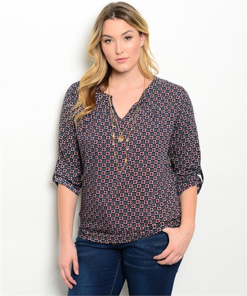 3XL Kiera Plus Size Top - Navy and Burgundy