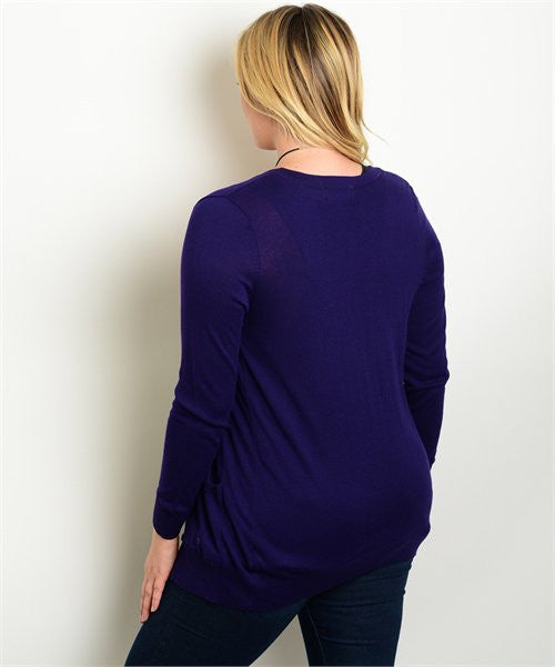 Purple Plus Size Cardigan
