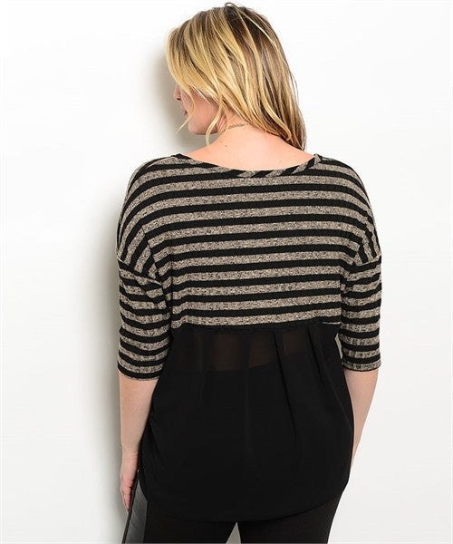 Stripped Top Plus Size - Taupe and Black