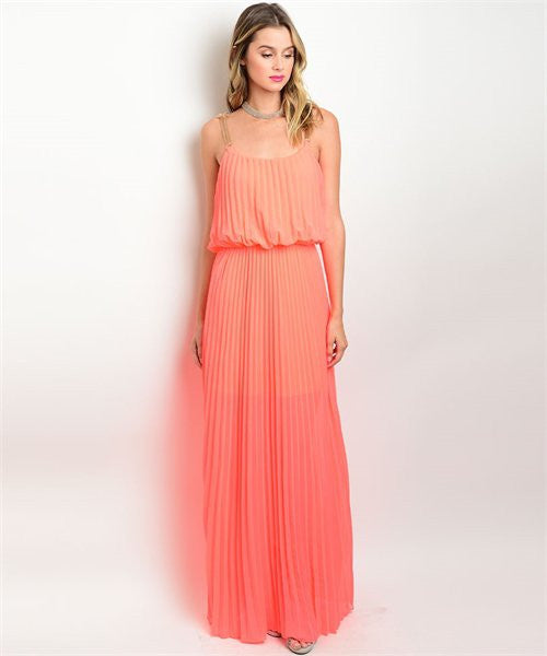 LARGE Neon Coral Maxi Dress
