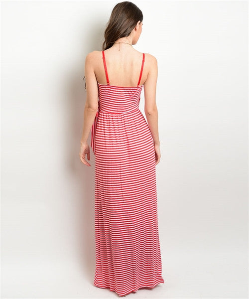 Red White Maxi Dress