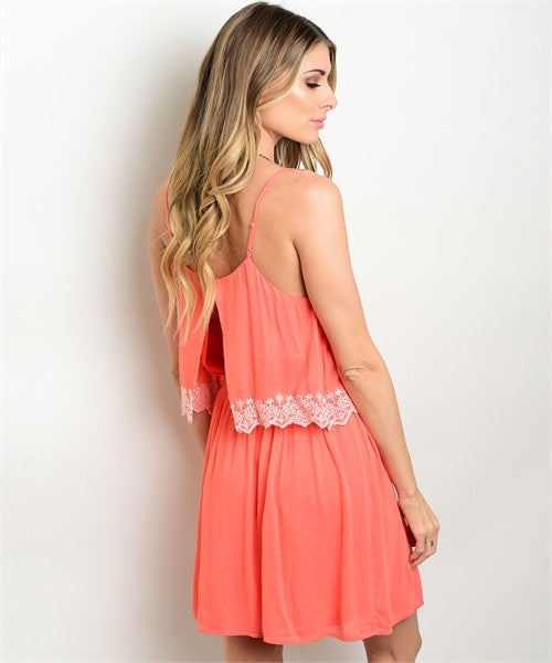 LARGE Coral White Dress